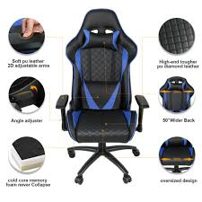 US $178.19 34% OFF|Ergonomic Computer Gaming Chair Racing High Back PU  Leather Adjustable Angle With Headrest Lumbar Support-in Office Chairs From  ...
