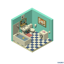 Isometric Bathroom On Behance Isometric In 2019
