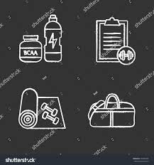 Fitness Chalk Icons Set Sport Equipment Stock Vector (Royalty Free ...
