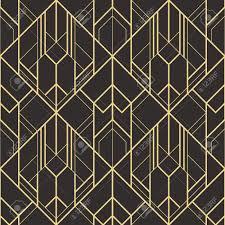 100 Art Deco Shape A Vector Modern Geometric Tiles Pattern Golden Lined