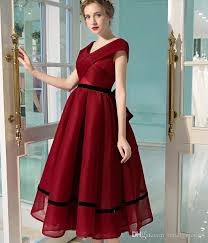 2017 Black And Red Gothic Short Wedding Dresses Vintage Tea Length V Neck 1950S Informal Bride Dress Custom Vestido De Novia With Color