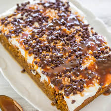 Pumpkin Cake Mix Bars by Pumpkin Caramel Poke Cake Averie Cooks