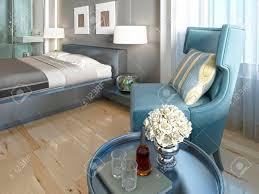 luxuriöser lounge sessel türkisfarbenes wohnzimmer mit einem tisch im deco stil 3d übertragen
