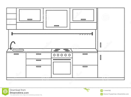 Kitchen Interior Front View Linear Sketch Line With