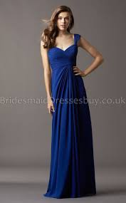 a line v neck straps royal blue chiffon long bridesmaid dresses