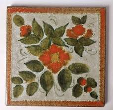 Ebay Decorative Wall Tiles by Vintage Semigres Decorative Wall Tile Trivet Floral Teracotta Made