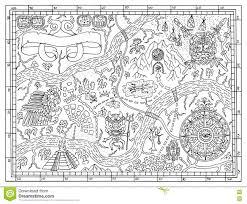 Carte Maya Antique Dans Le Concept De Chasse À Trésor Illustration
