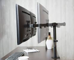 stand v102 vivo full motion dual monitor desk mount vesa stand