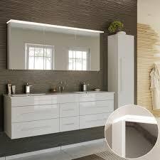 badmöbel komplett set in hochglanz weiß newland 02 153cm waschtisch mit unterschrank led spiegelschrank hochschrank b h t ca 208 200 47 cm