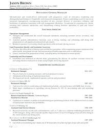 Sample Resume Restaurant Manager Bar Template General