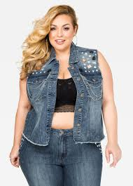 plus size jean vest jean dev