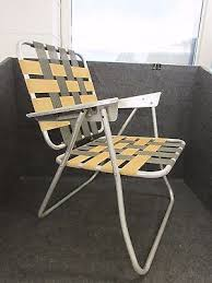 Webbed Lawn Chairs With Wooden Arms by Vintage Retro Aluminum Folding Webbed Chaise Lounge Lawn Chair