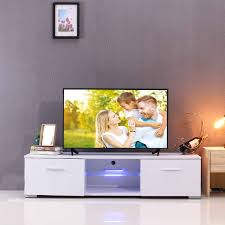 57 Inch White Black Wooden TV Stands Portable Detachable LED Light High Gloss TV Unit Cabinet Stand For Living Room US Shipping