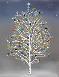 Christmas Birch Tree Painting By Robert Roy