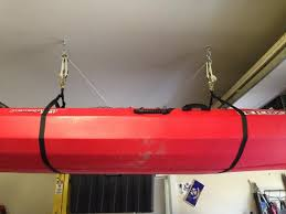 Kayak Ceiling Hoist Pulley by Kayak Ceiling Storage Aka Finally Got Both Cars In The Garage