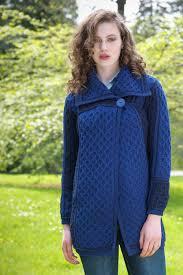 100 wool ladies honeycomb knit long sweater coat u2013 aran sweaters