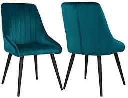duhome 2er set esszimmerstuhl aus stoff samt petrol grün
