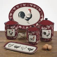 Home Decor Interesting Rooster Kitchen Walmart Canister Sets Canisters And Wooden