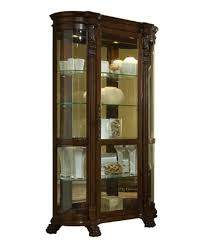 curved end curio cabinet in foxcroft brown by pulaski home