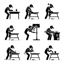 Carpenter Using Woodworking Tools And Equipment With A Workbench At Workshop Stock Vector