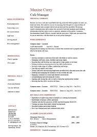 Cafe Manager CV 1 Resume Covering Letter Job Description