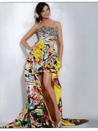 beautiful floral print high low strapless sequined bodice flowers