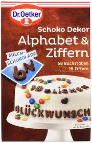 dr oetker schoko dekor alphabet ziffern milchschokolade 9er pack 9 x 58 g