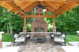Outdoor Brick Fireplace Patio Traditional With Brick Fireplace