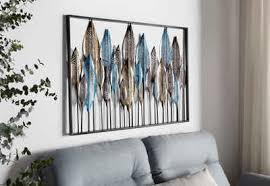 home affaire wanddekoobjekt feder wanddeko wanddekoration aus metall motiv federn