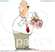 Clipart Illustration of a White Guy In A Business Suit Taking Coins Out A Broken Piggy Bank To Collect Enough Money To Support A Bad Habit by djart