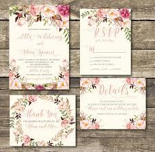 Rose Gold Printed Wedding Invitation Blush