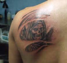 Side Back Cover Up With Outstanding Simple Death Skull Tattoo For Men