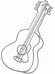 Line Drawings Guitar Coloring Page