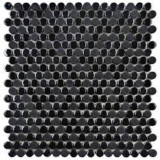 Home Depot Merola Lantern Ceramic Tile by Merola Tile Galaxy Penny Round Black 11 1 4 In X 11 3 4 In X 9