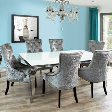 Grey Dining Room Chairs Awesome Fadenza White Glass Table And 6 Silver With Rush Seat