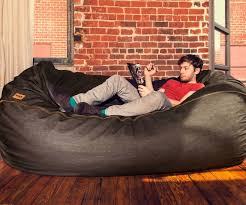 Huge Bean Bag Sofa Denim Real Leather Set