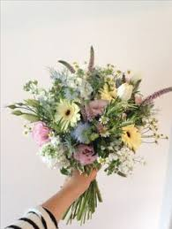 Rustic Hand Tied Bouquet Roses Calla Lilies Berries Thistle Allium Pods Lavender Rosemary And Gerberas