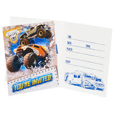 MONSTER JAM TRUCKS BIRTHDAY PARTY SUPPLIES PACK OF 8 INVITATIONS ... Birthday Monster Party Invitations Free Stephenanuno Hot Wheels Invitation Kjpaperiecom Baby Boy Pinterest Cstruction With Printable Truck Templates Monster Birthday Party Invitations Choice Image Beautiful Adornment Trucks Accsories And Boy Childs Set Of 10 Monster Jam Trucks Birthday Party Supplies Pack 8 Invitations