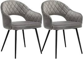songmics esszimmerstuhl samt 2er set moderner küchenstuhl gepolsterter samtstuhl mit armlehnen metallbeine elegantes design esszimmer