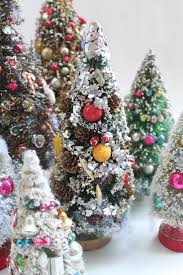 For Christmas I Found Seven Vintage Bottle Brush Trees They Are Decorated In The Most Fantastic Ways All Have Mercury Glass Beads But Some Jewelry
