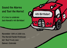 Kids Fire Truck Birthday Party Invitations, Fire Truck Invitations ...