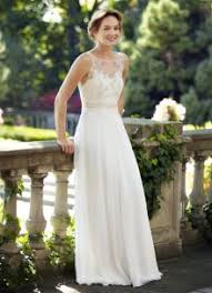 Illusion Crew Neck Sleeveless V Back Rustic Lace Chiffon Wedding Dress