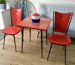 100 Red Formica Table And Chairs 1950s DINING TABLE 2 CHAIRS RED VINYL FORMICA ATOMIC