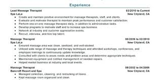Spa Therapist Resume Sample Massage Objective Examples For Templates