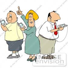 Caucasian Adult People Listening to Music on iPods Clipart