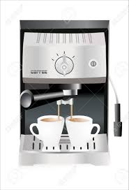Espresso Machine Pouring Into The Cups Isolated On White Background Stock Vector