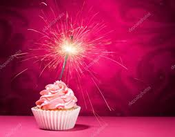 Birthday Sparkler Cupcake — Stock