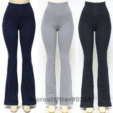 Womens YOGA Pants Athletic GYM Fold Over Waistband Flare Leg Tight Cotton
