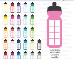 Water Bottles With Tracker Icon Digital Clipart In Rainbow Colors