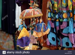 street vendors who selling indian cotton clothes and stock photo